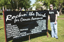 Above: Hayden Shrum at the first music festival he organized to benefit cancer awareness in 2010.