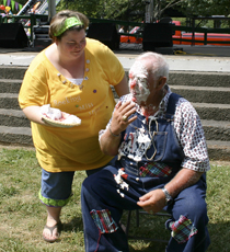 Ronald Birdwell got the ole pie in the face from Melissa Shrum, after she raised more money in the Mr. & Mrs. Hillbilly Contest.