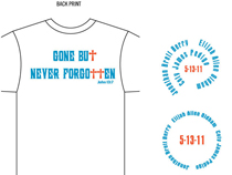 Above: Back and front views of t-shirts that will be sold by the EAO Jr. Group at the Hartsville Street Fair.
