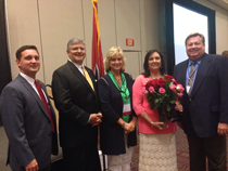 Pictured left to right: Jason Beard, Administrator of Adult Education; Burns Phillips, Commissioner of Tennessee Department of Labor and Workforce Development; Glenda Vanderveer, Assistant Administrator of Adult Education; June Spears, 2015 Adult Education Teacher of the Year Hope Award Winner; Dee Johnson, Supervisor of VSCC Adult Education-Sumner/Macon Counties.