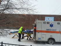 Ice and snow covered roads created havoc for Macon County's emergency responders over the weekend. The above ambulance was brought in for transport after the ambulance originally transporting this patient got stuck.