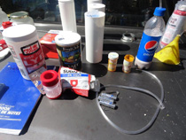 Pictured above are the components of a meth lab found by THP Officer Danny Fisher inside a vehicle during a routine traffic stop.
