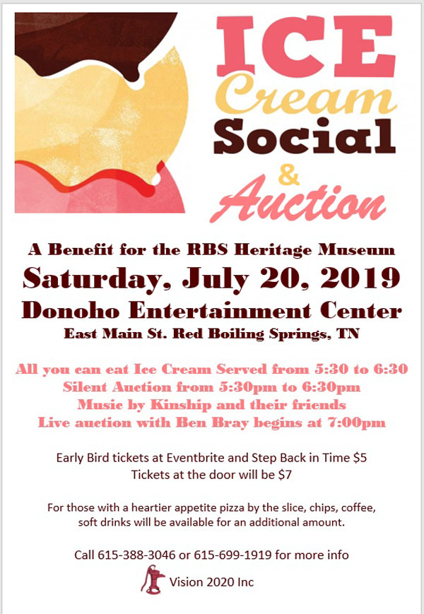 Ice Cream Social & Auction, July 20: A Benefit for RBS Heritage Museum